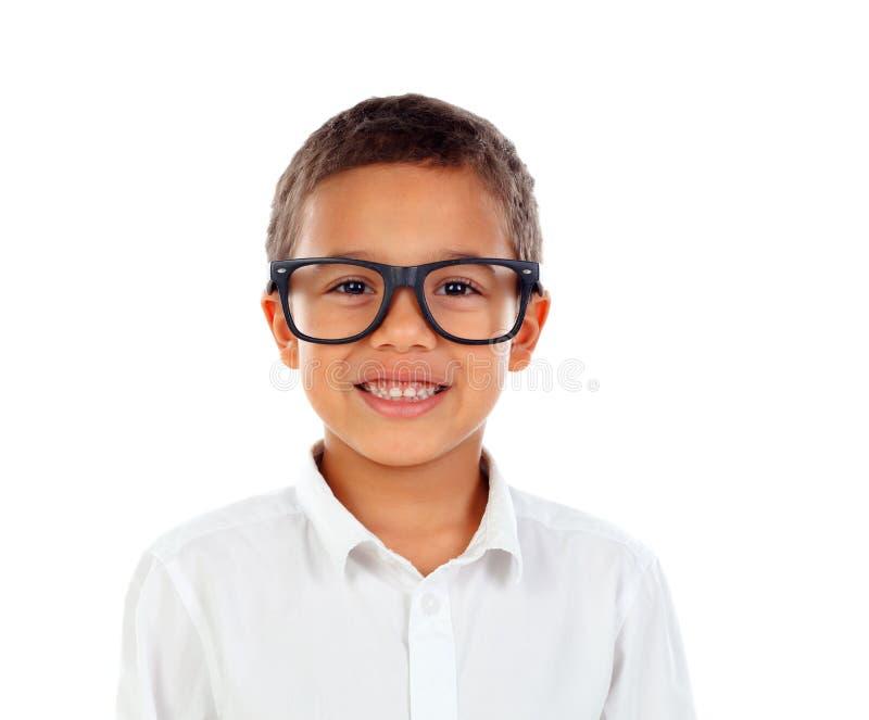 Grappig kind met het grote glazen lachen royalty-vrije stock afbeeldingen
