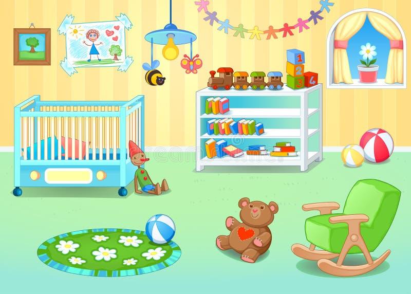 Grappig kinderdagverblijf met speelgoed stock illustratie