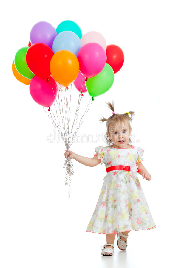Grappig kindmeisje met ballons in haar hand royalty-vrije stock foto's