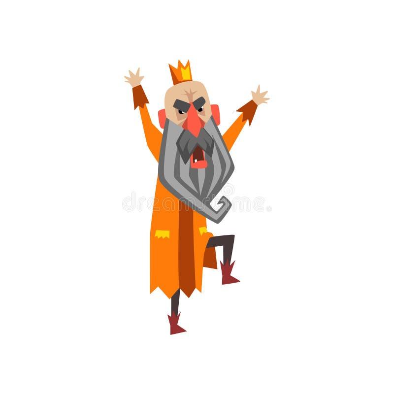 Grappig koningskarakter die, koning in de vectorillustratie van het woedebeeldverhaal schreeuwen royalty-vrije illustratie