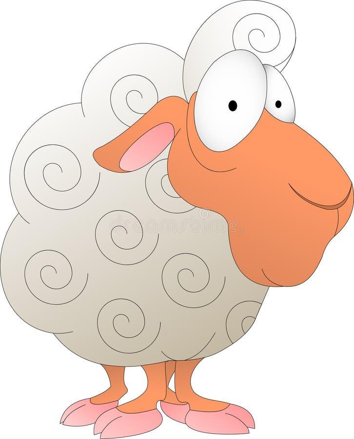 Grappig krullend lam met roze hoeven royalty-vrije illustratie