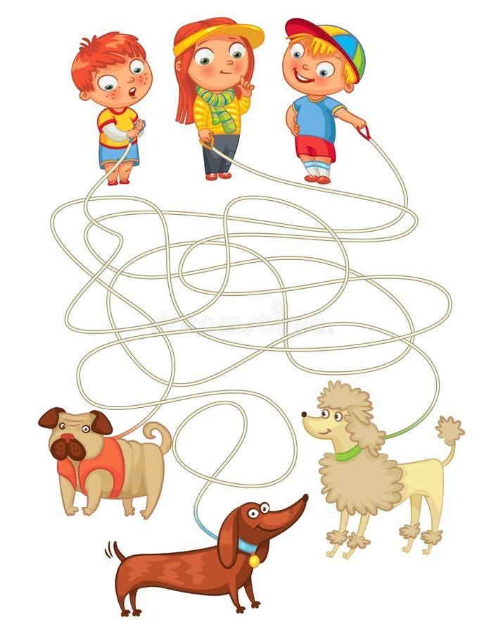Grappig labyrintspel: de hulpeigenaars vinden hun huisdieren stock illustratie