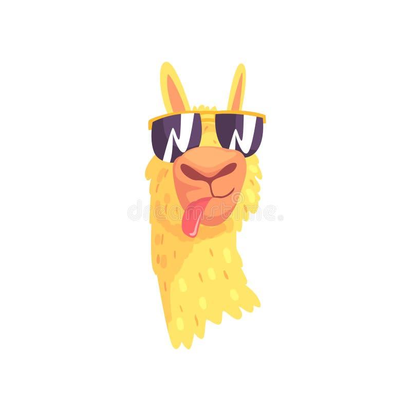 Grappig lamakarakter in zonnebril, de leuke vectorillustratie van het alpaca dierlijke beeldverhaal stock illustratie