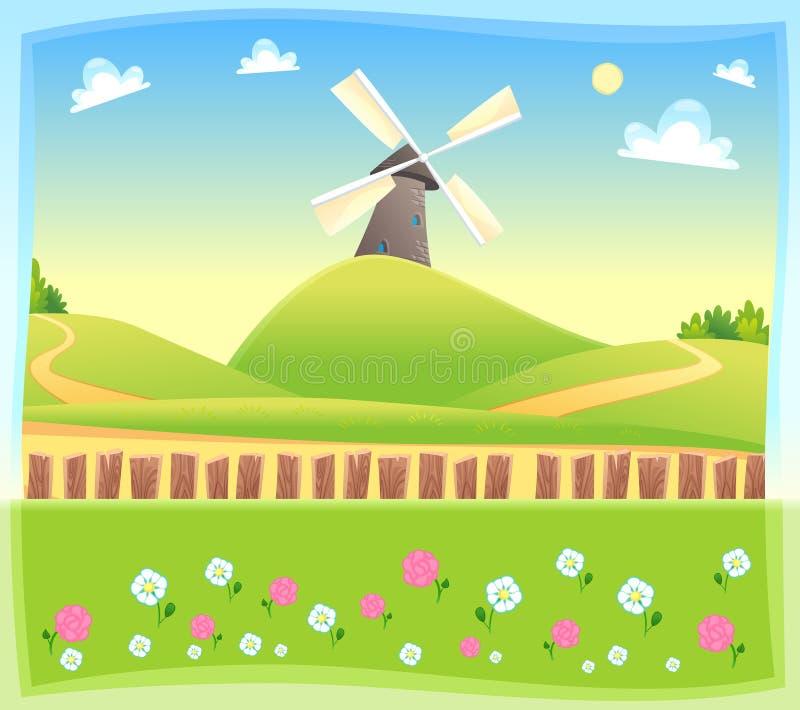 Grappig landschap met windmolen. royalty-vrije illustratie