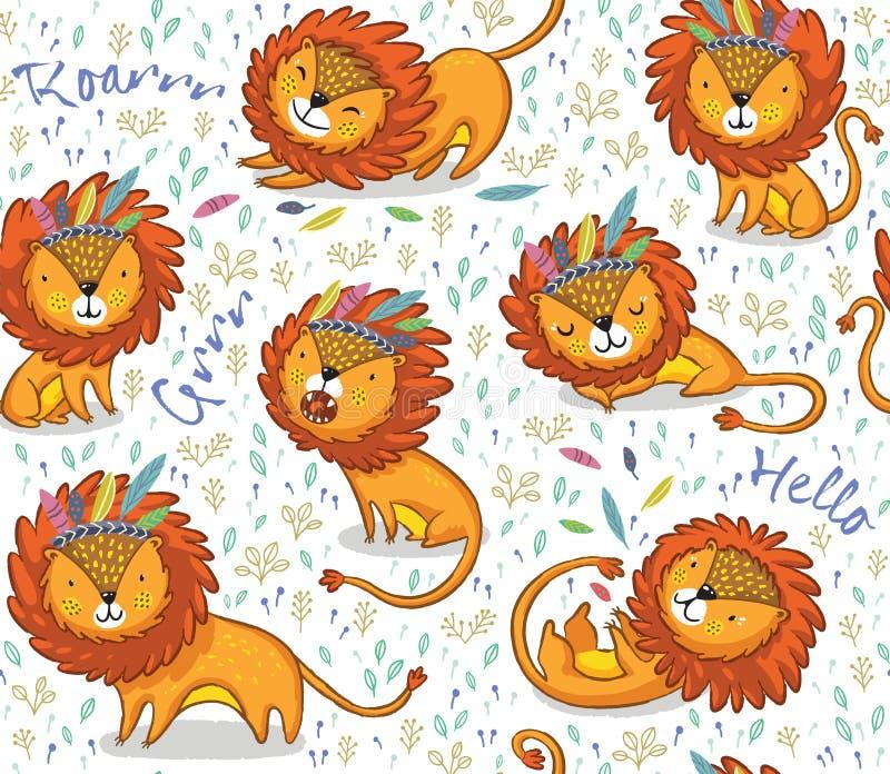 Grappig leeuwen naadloos vectorpatroon met witte achtergrond royalty-vrije illustratie