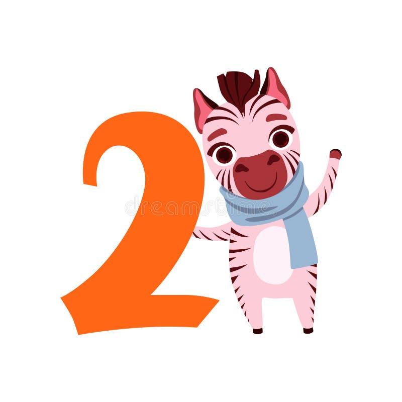 Grappig leuk gestreept dier en nummer twee, verjaardagsverjaardag, leren om de vectorillustratie van het conceptenbeeldverhaal te royalty-vrije illustratie