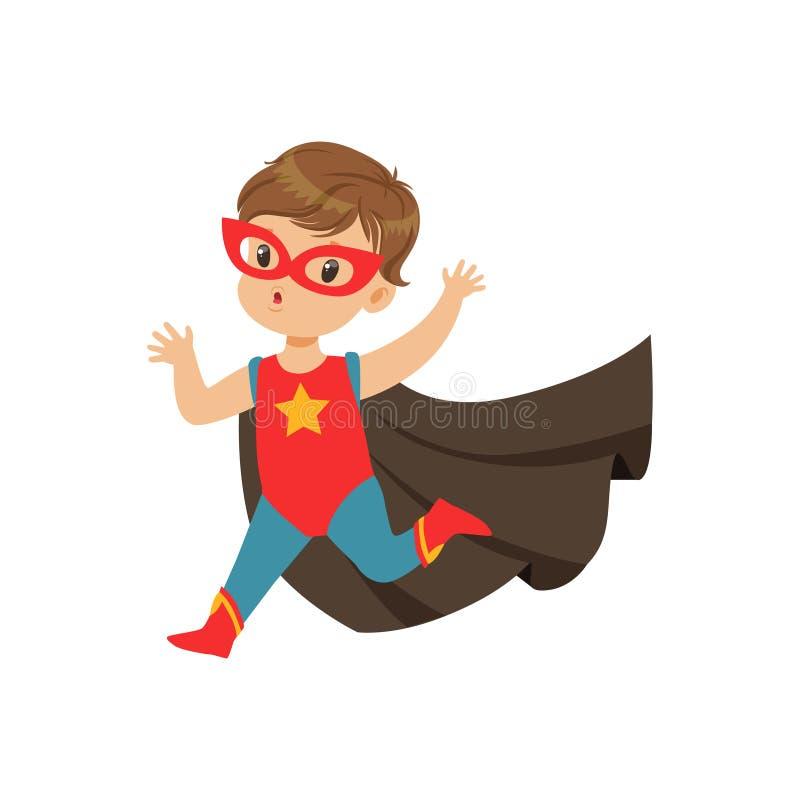 Grappig leuk moedig jong geitje in superherokostuum die met omhoog handen lopen Kind met buitengewone capaciteiten Vector beeldve stock illustratie