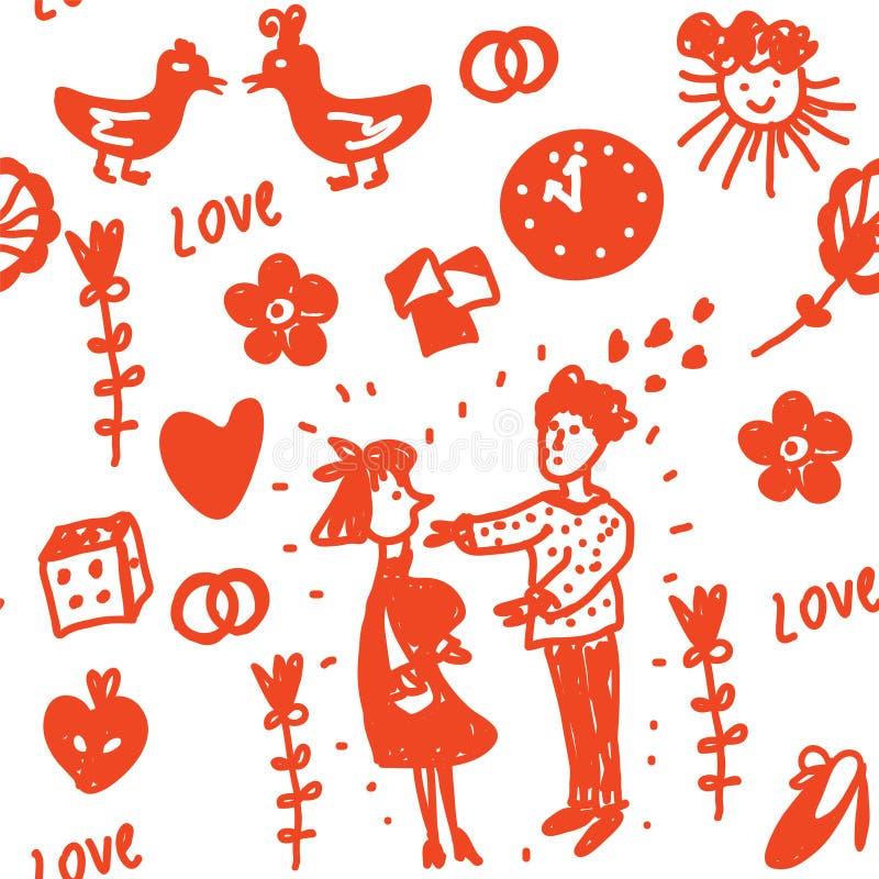 Grappig liefde naadloos patroon royalty-vrije illustratie
