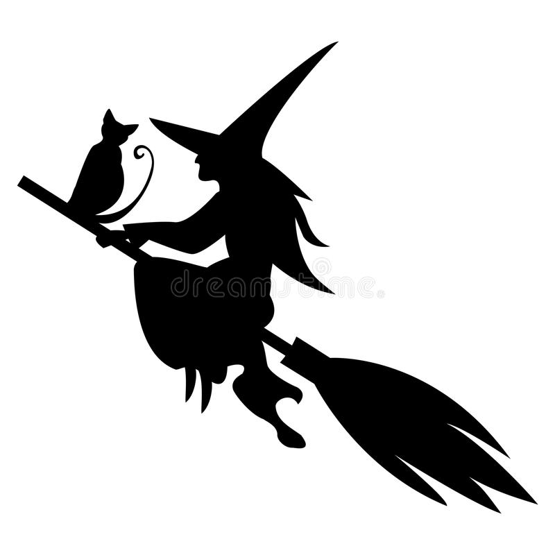 Grappig magisch silhouet van heks en kat die op bezem vliegen royalty-vrije illustratie
