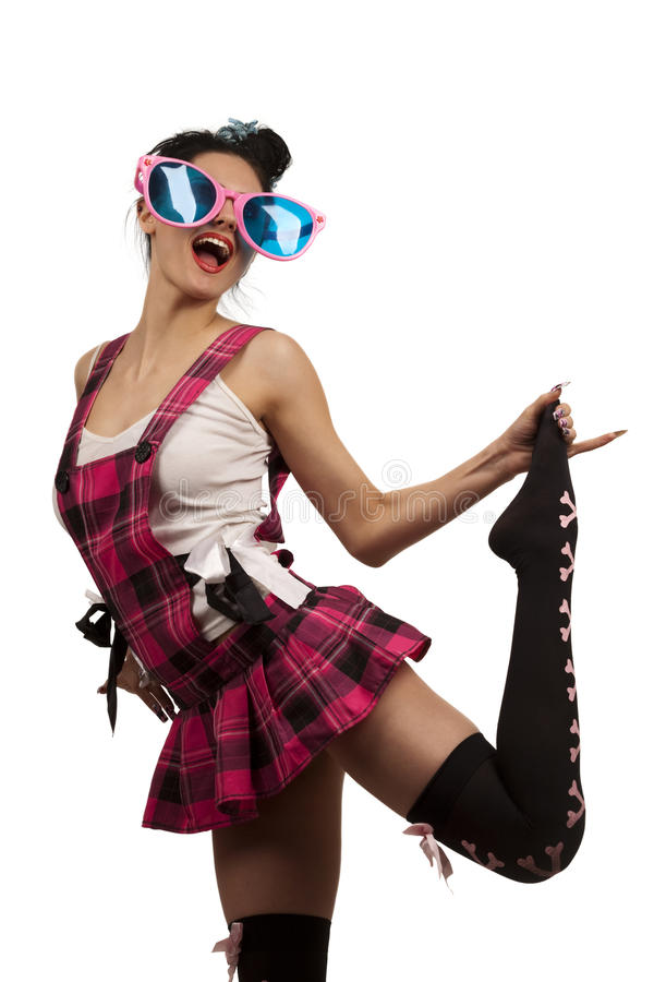 Grappig Meisje dat Grote roze Oogglazen draagt royalty-vrije stock foto's