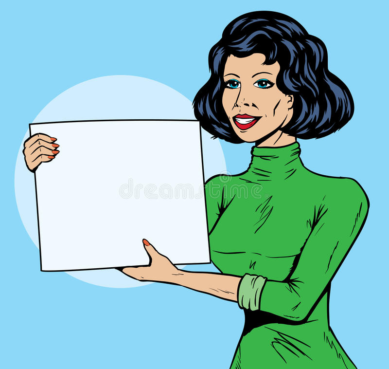 Grappig Meisje met teken vector illustratie