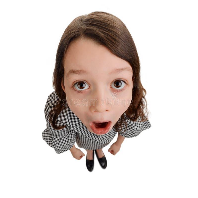 Grappig meisje met verrast gezicht stock afbeeldingen