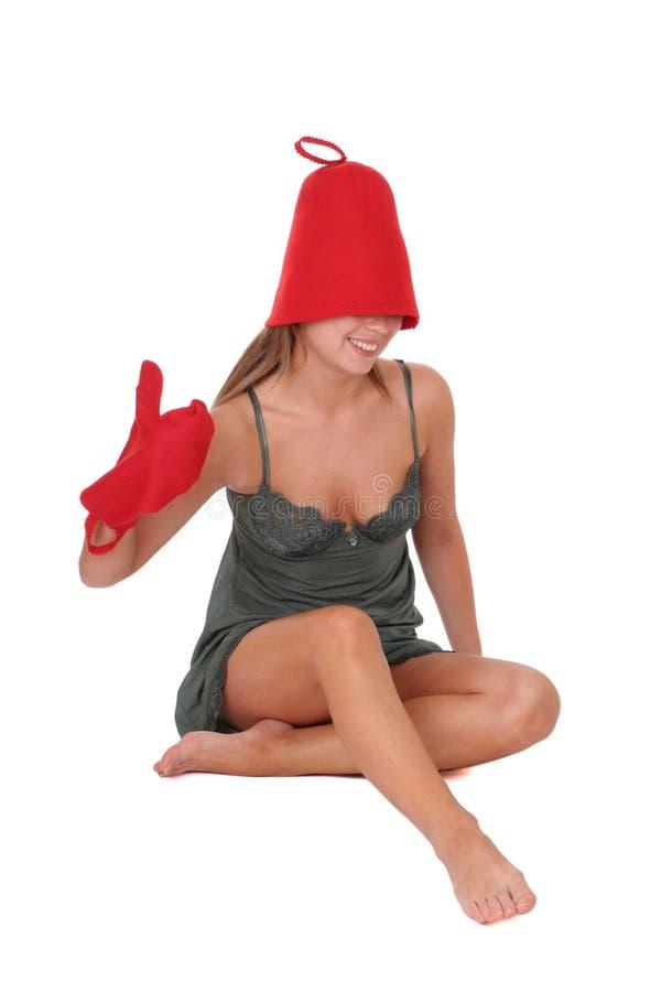Grappig meisje na sauna stock foto