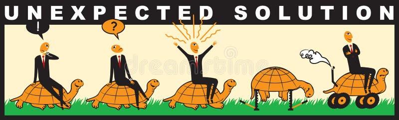 Grappig met een zakenman die een schildpad berijdt royalty-vrije illustratie