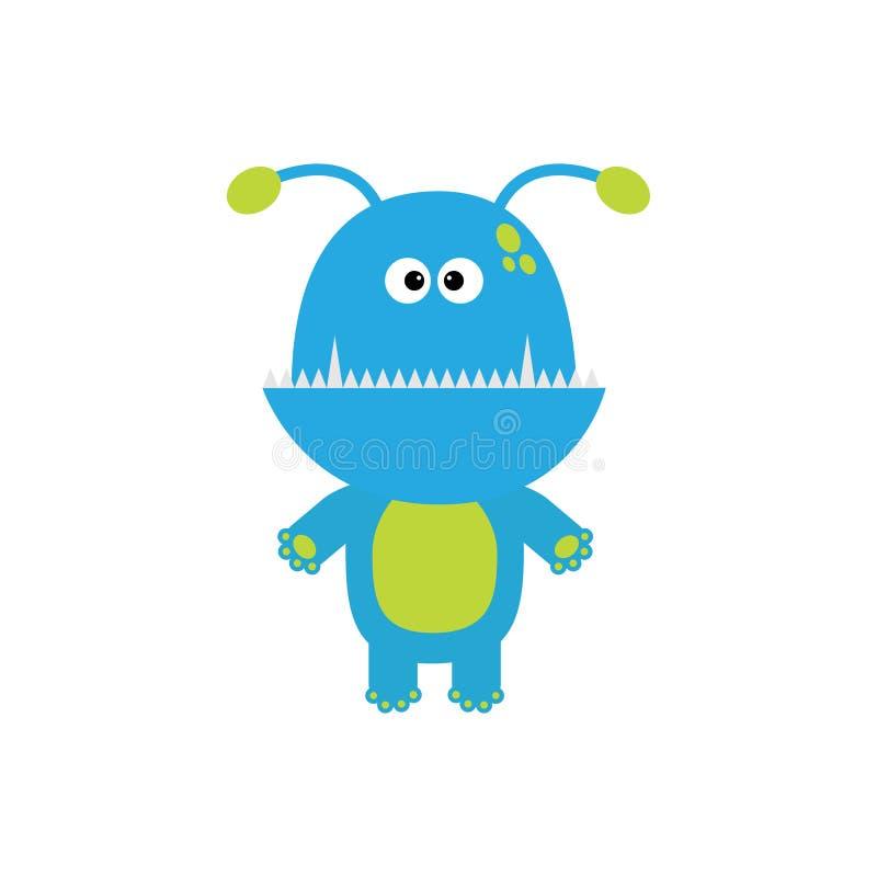 Grappig monster met hoektandtand en hoornen Leuk beeldverhaalkarakter Blauwe kleur Babyinzameling Geïsoleerde De gelukkige kaart  stock illustratie