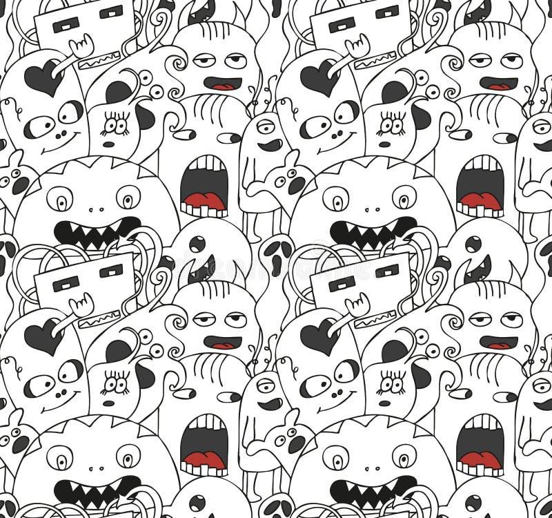 Grappig monsters naadloos vectorpatroon royalty-vrije illustratie