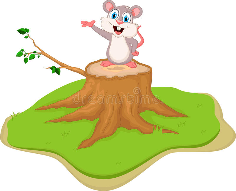Grappig muisbeeldverhaal op boomstomp vector illustratie