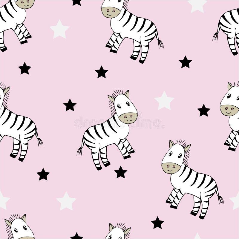 Grappig naadloos kinderachtig patroon met leuke zebras vector illustratie