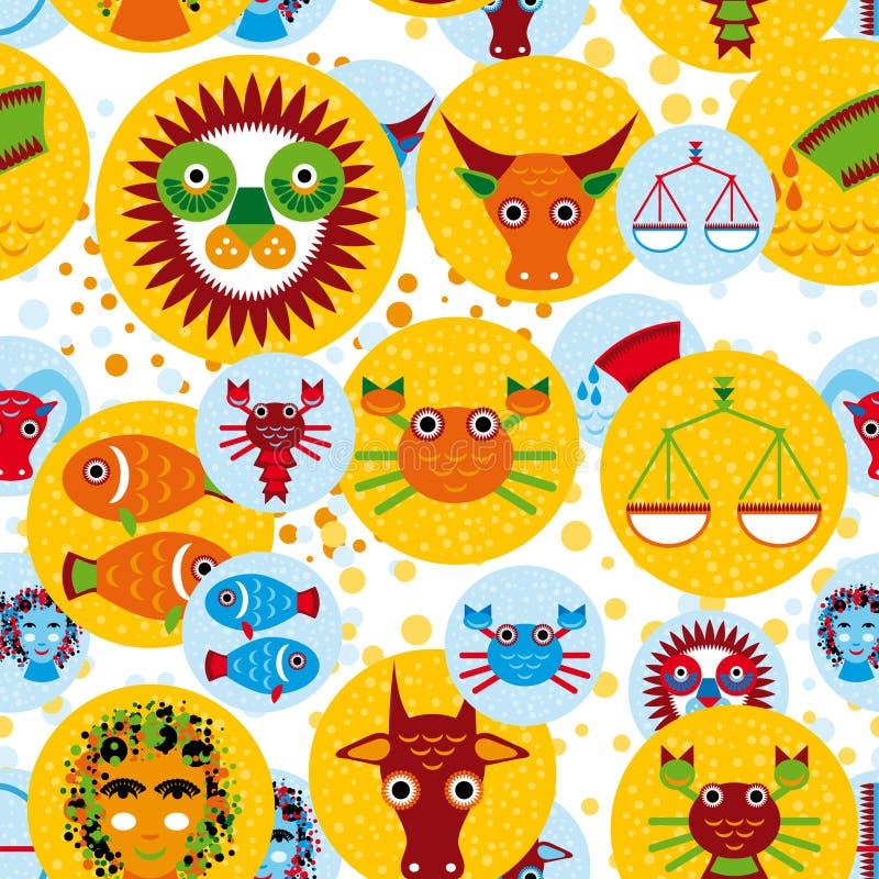 Grappig naadloos patroon met de horoscoop van het dierenriemteken royalty-vrije illustratie