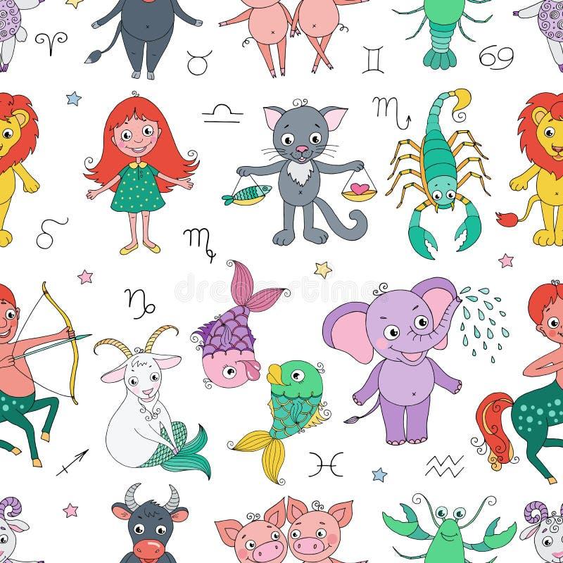 Grappig naadloos patroon met dierenriemteken stock illustratie