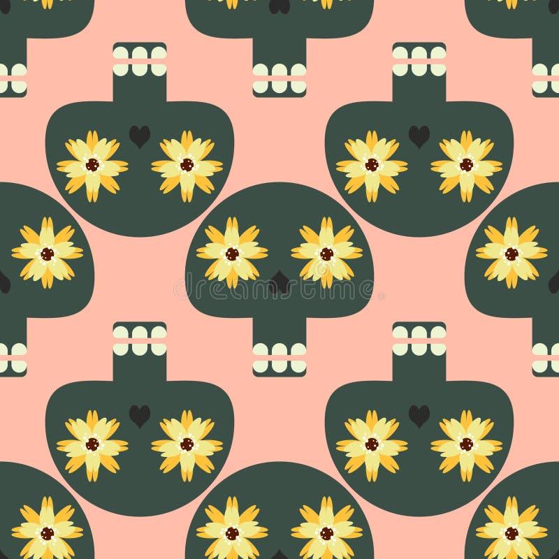 Grappig naadloos patroon met leuke schedels vector illustratie