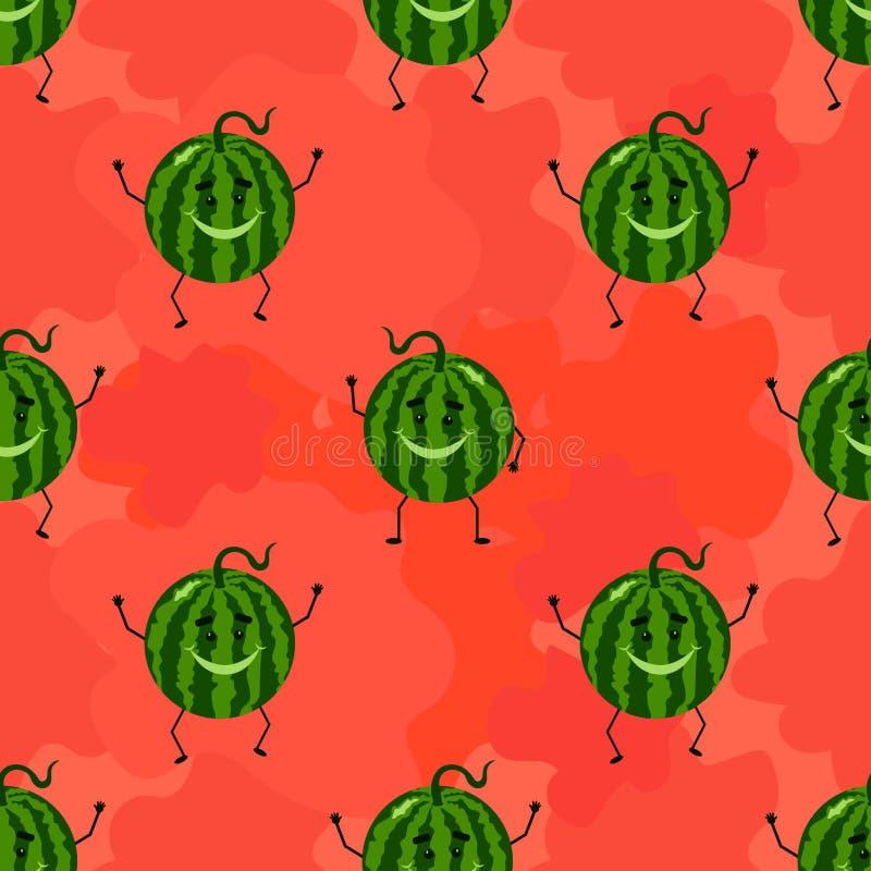 Grappig naadloos patroon met watermeloen vector illustratie