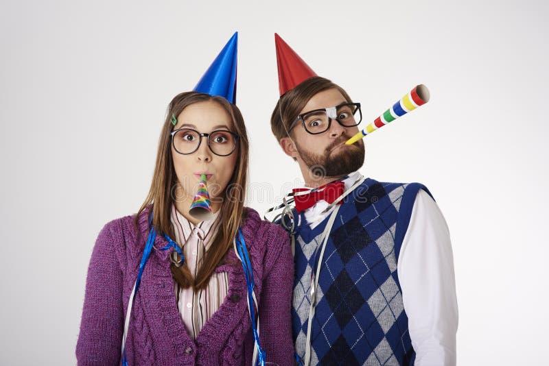 Grappig nerdpaar stock afbeelding