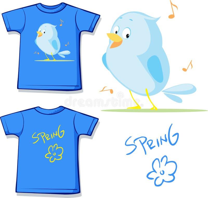 Grappig overhemd met de lente het zingen vogel gedrukte vector vector illustratie