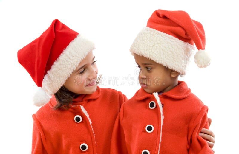 Grappig paar van meisjes in Kerstmis royalty-vrije stock afbeelding