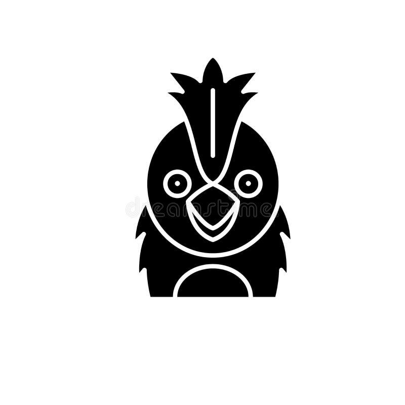 Grappig papegaai zwart pictogram, vectorteken op geïsoleerde achtergrond Het grappige symbool van het papegaaiconcept, illustrati stock illustratie