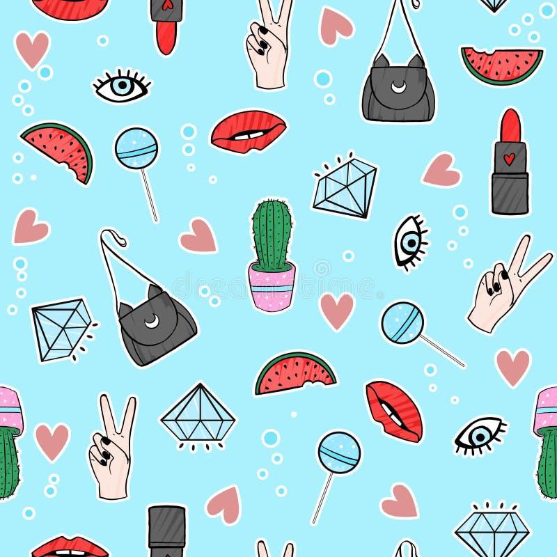 Grappig patroon met ogen, lollys, watermeloen, mond, lippenstift, harten en diamanten stock illustratie