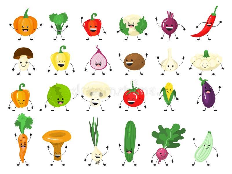 Grappig plantaardig karakter - reeks Groep gelukkige komkommer vector illustratie