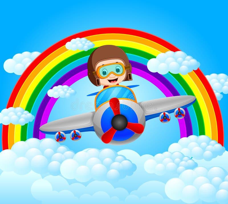 Grappig proef berijdend vliegtuig met regenbooglandschap stock illustratie