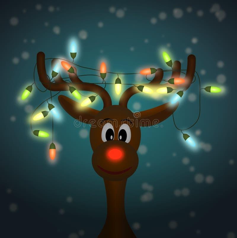 Grappig rendier met Kerstmislichten in dark vector illustratie