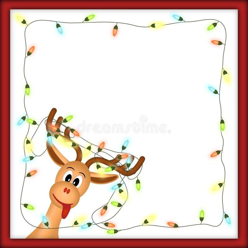 Grappig rendier met Kerstmislichten in rood frame vector illustratie