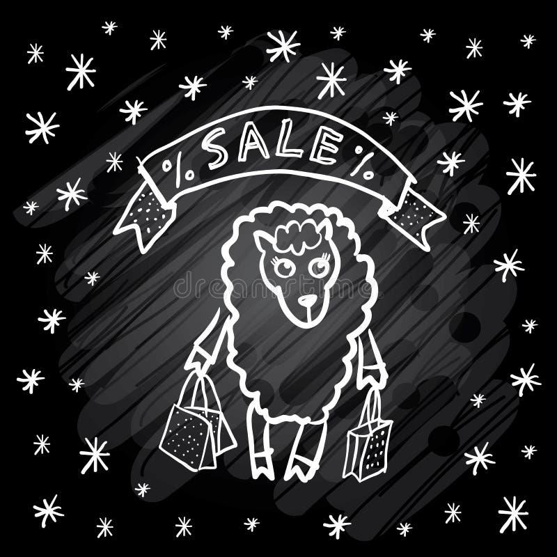 Grappig schapenmeisje met van de het lintraad van pakkettensneeuwvlokken van de het krijtschets Kerstmisverkoop Vector vector illustratie