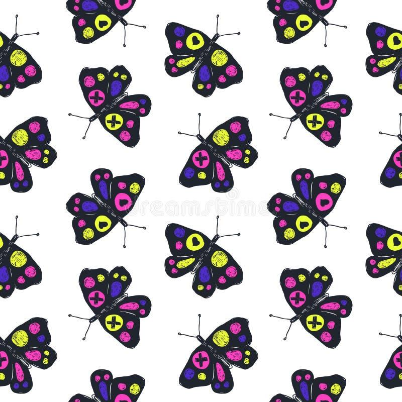 Grappig schets naadloos patroon met kleurenvlinders vector illustratie