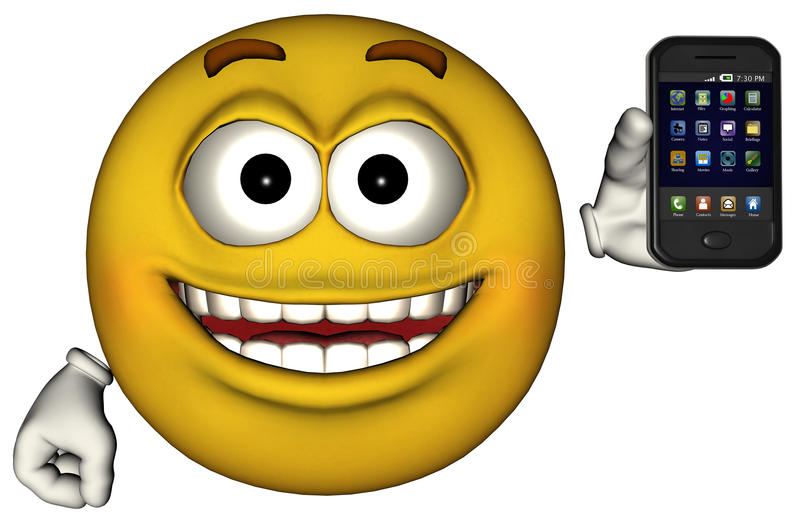 Grappig Smiley Face Smartphone Isolated royalty-vrije illustratie