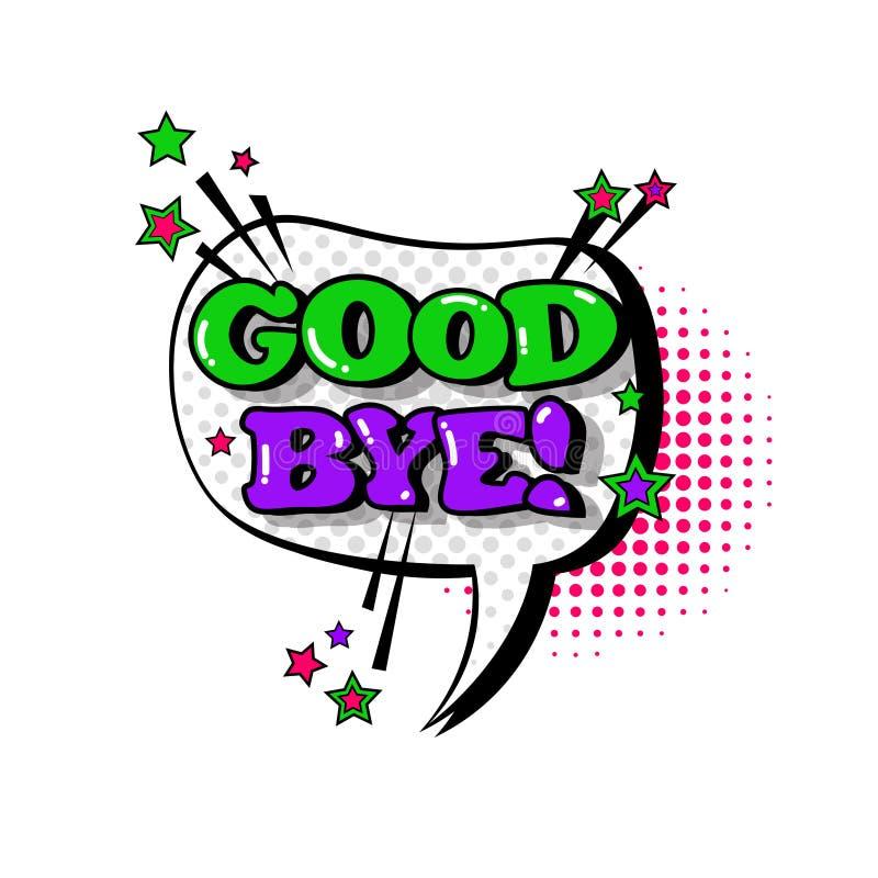 Grappig van de Bellen Pop Art Style Good Bye Expression van het Toespraakpraatje de Tekstpictogram vector illustratie