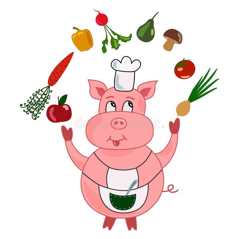 Grappig varkens kok-chef-kok beeldverhaal stock illustratie
