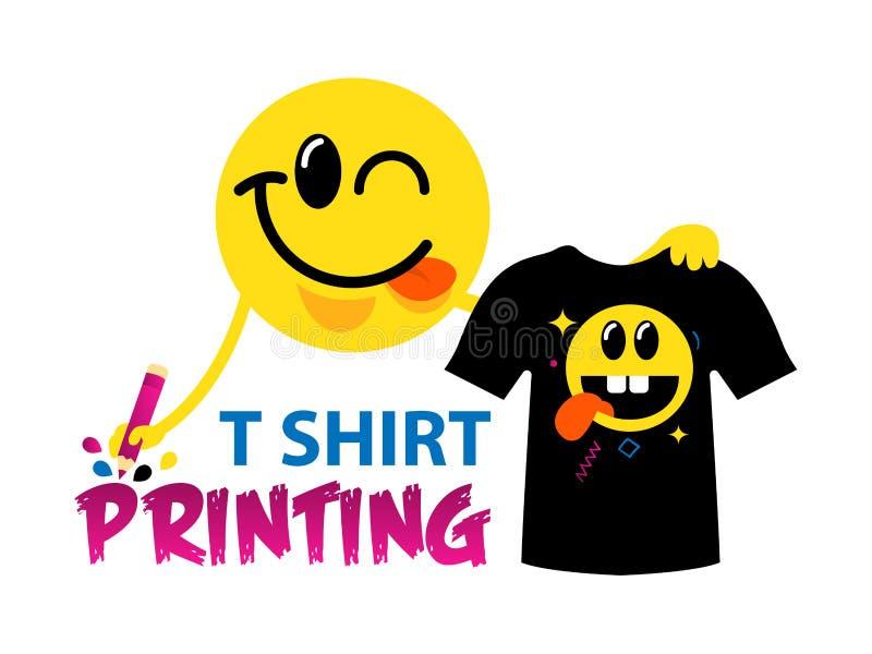 Grappig vectorembleemmalplaatje van t-shirtdruk Voor typografie, druk, collectieve identiteit, workshop, het brandmerken, fabriek vector illustratie