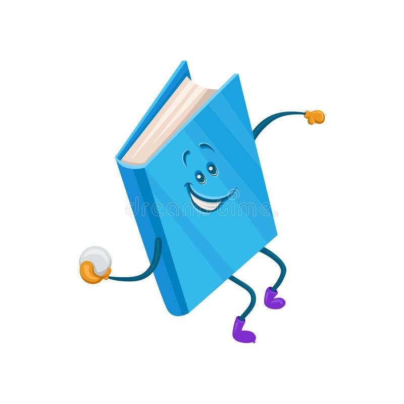Grappig vermenselijkt blauw boekkarakter die de vectorillustratie van het sneeuwbalbeeldverhaal werpen vector illustratie