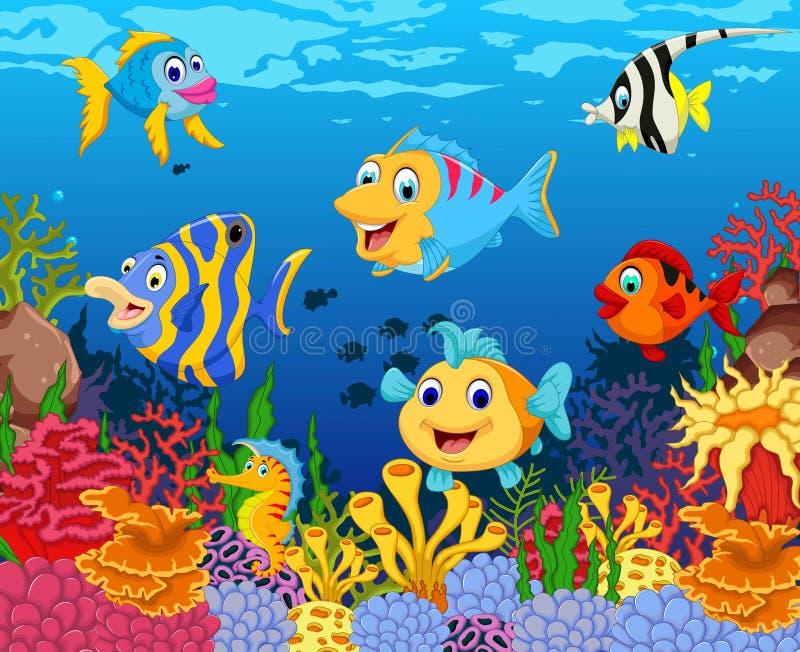 Grappig vissenbeeldverhaal met schoonheids overzeese het levensachtergrond royalty-vrije illustratie