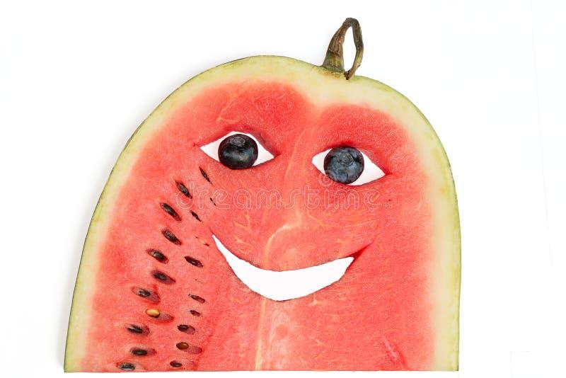 Grappig watermeloengezicht royalty-vrije stock foto's