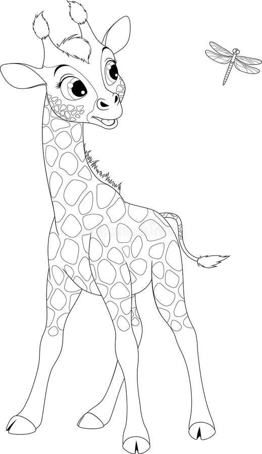 Grappig weinig giraf en libel royalty-vrije illustratie