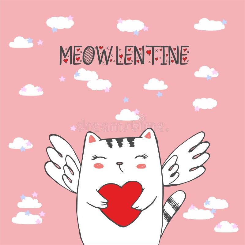 Grappig weinig kattencupido met hart Illustratie van een Valentijnskaartendag CAT ANGEL Vectorillustratie in een beeldverhaalstij royalty-vrije illustratie