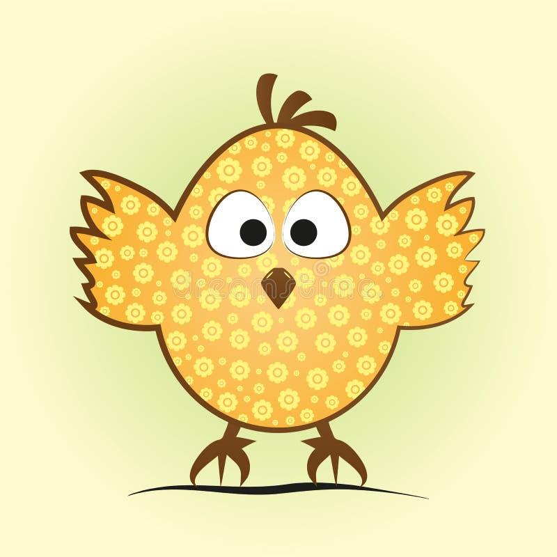 Grappig weinig kip in een eivorm Grappig kuiken met een bloem royalty-vrije illustratie