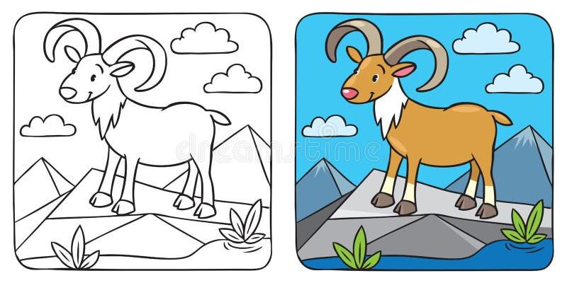 Grappig wilde urial of rams kleurend boek vector illustratie