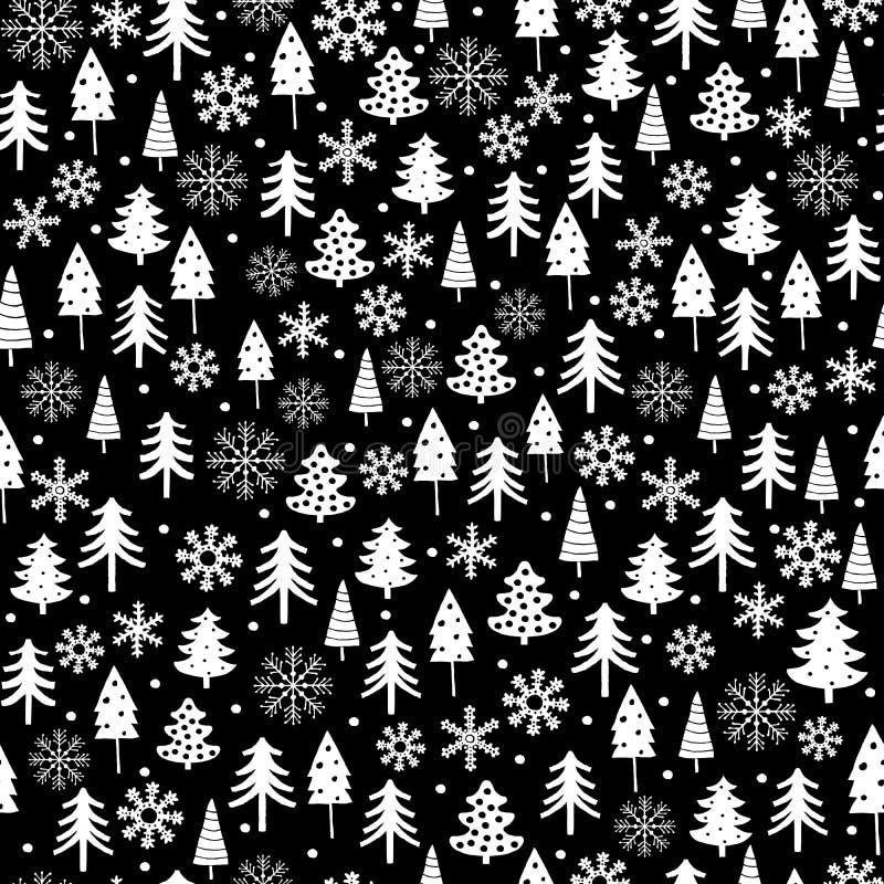 Grappig Wit Kerstboom en Sneeuwvlokken Vectorpatroon Zwart-wit Onregelmatig Ontwerp met Abstracte Bomen en Punten vector illustratie