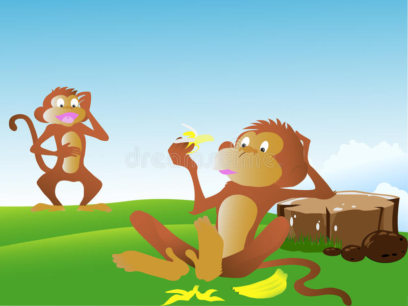 Grappige aap met banaan stock foto's